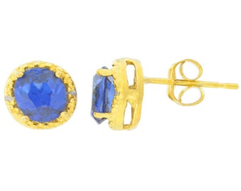 14Kt Yellow Gold Plated Blue Sapphire & Diamond Round Stud Earrings