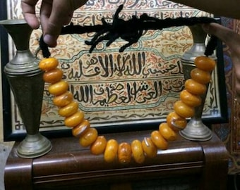 Moroccan Faux Amber Resin Beads Necklace From Morocco , Vintage Berber Amber Stone Jewelry Beads Africa