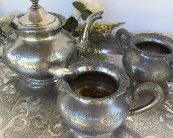 Antique Victorian Teapot Set Dated 1898 -  Van Bergh Silver Plate Co. Victorian Etched Quadruple Plate