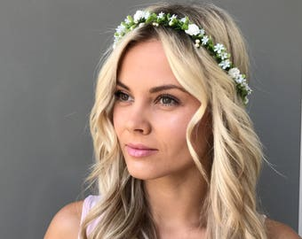 White flower crown wedding flower crown adult Bridal floral crown wedding Flower headband green flower hair wreath Flower head wreath