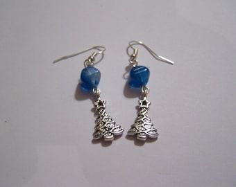 tree silver BO41 blue beads