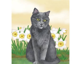 Grey Kitty in the Garden Print