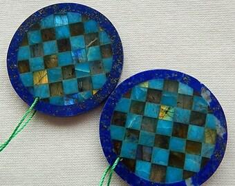 New Design,Blue Apatite,Labradorite,Lapis Lazuli Intarsia Earring Beads ,34x3mm,15g,-E8858