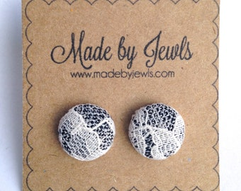 Grey and White Ivory Lace Handmade Fabric Covered Hypoallergenic Button Post Stud Earrings 10mm
