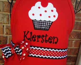 Personalized Gingham Wrapped Cupcake Apron (Kids & Adult Aprons)