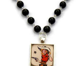 Vintage Cowgirl Pin Up Necklace with Black pearls - Vintage Tattoo Art, Retro, Old School - Retro Pinup