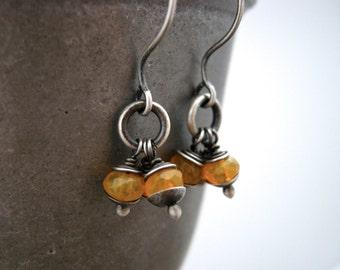 pumpkin orange earrings, orange glass bead earrings, handmade earrings, boho orange, dangle earrings, drop earrings