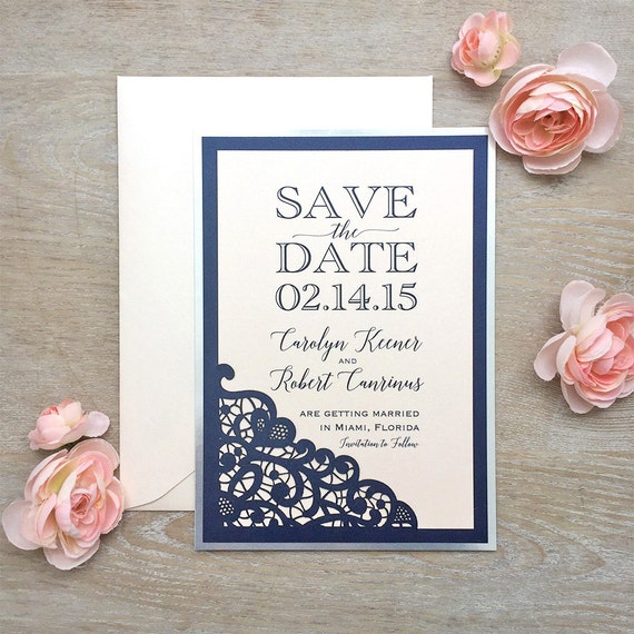 LASER CUT Save The Date - Silver, Navy, and Blush Save the Date Card with Blush Shimmer Envelopes - Silver Foil backing