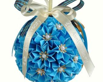 Paper anniversary gift. Mother's day gift. Gift for her. Paper gift. Origami kusudama ball. First 1st anniversary gift. Grandma gift.