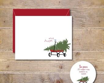 Christmas Cards . Holiday Cards . Christmas Tree Cards - Christmas Tree on a Wagon