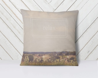 Relax Throw Pillow Cover | Nature Landscape | Art | Calm Peaceful Meditative Decor | Home Decor