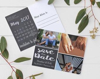 Chalkboard Save the Date Postcard