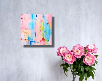 Small abstract art contemporary painting in a mashup of happy colors
