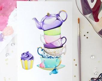 Afternoon Tea Party Art Print Cupcake Art Stacked Teacups Art Afternoon Tea Party Set Vintage Teacups Tea Lover Tea Time Bakery Decor Teapot
