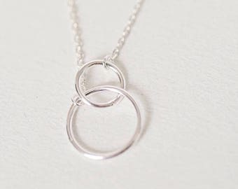 Double circle charm necklace, Infinity style necklace, Eternity necklace, Circle necklace, Silver circle necklace, Sterling silver necklace,