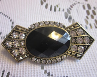 VIntage 1950's Glass  and Rhinestone Brooch Large Flawless