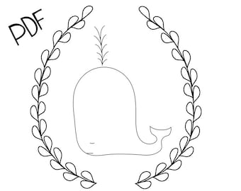 Fancy Whale PDF Hand Embroidery Pattern