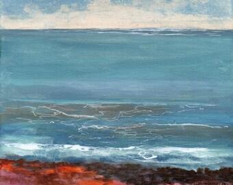 Calm Sea - Original Landscape Painting of Sky Clouds Ocean Water Rocks Zen Fresh Air