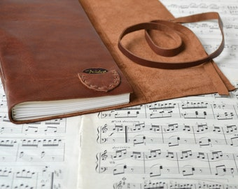 Brown Leather Guitar Book - Leather Music Book with Tab Paper and Pick Pocket