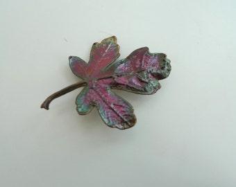 Brooch: Red tinted leaf