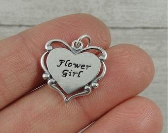 Flower Girl Charm - Sterling Silver Flower Girl Charm for Necklace or Bracelet