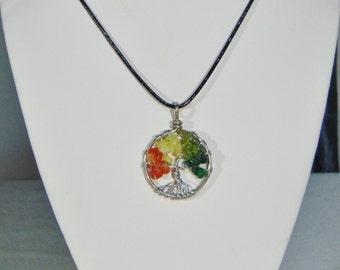 Tree of Life Pendant Multi Stone Rainbow Crystal Necklace (medium)