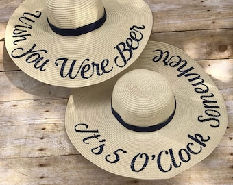 Custom Floppy Sun Hat, Statement Floppy Beach Hat, Personalized Hat, Brides Gift, Mothers Day Gift, Gift for Her, Bridesmaids, Custom Hat
