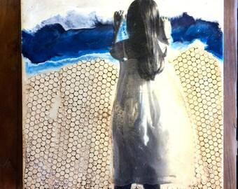 original encaustic painting-  peek