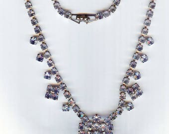 VINTAGE Light Blue Rhinestone & Silver Drop Necklace