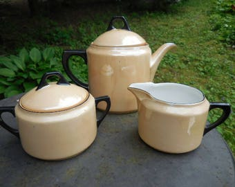 Vintage 1940s Beige Lusterware Black Trim and Handles Teapot/Creamer/Sugar Dish Set RW Bavaria Rudolf Wachter Art Deco Era