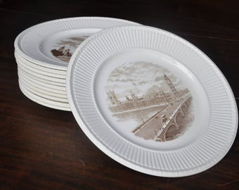 Old London Views by Wedgwood of Etruria & Barlaston, Set of 12 Plates