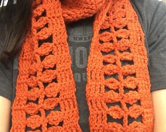 Crocheted autumn leaf scarf