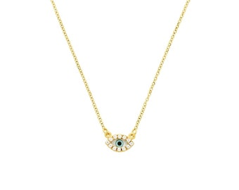 14kt Gold Evil Eye Necklace with cubic zirconia