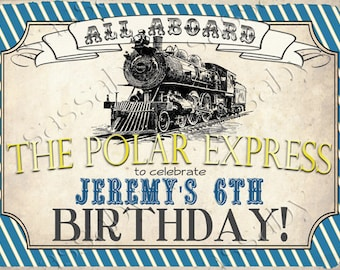 Polar Express Party Sign Poster - Blue & Gold -  INSTANT DOWNLOAD - Editable/Printable Birthday Christmas Welcome Sign by Sassaby Parties
