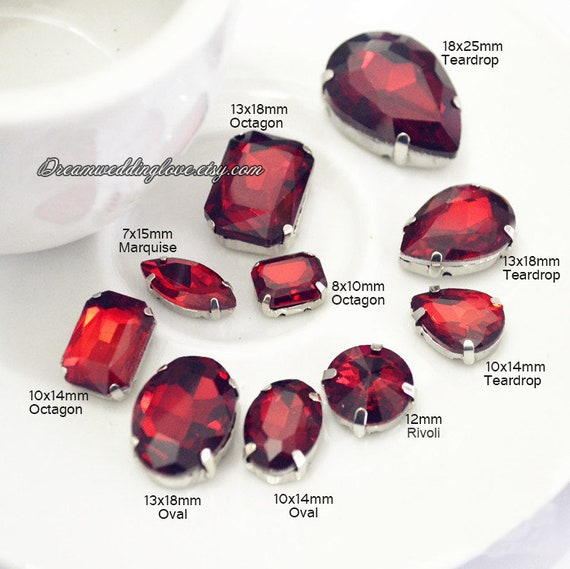 Siam Sew On Rhinestones  Red Glass Teardrop Oval Octagon Marquise Square Rectangle Heart Rhinestones Silver Setting Loose Crystal Beadss by Etsy