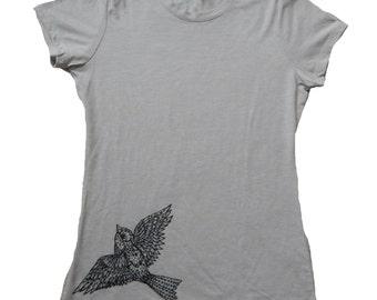 Sparrow T-Shirt, Womens Next Level T, Original Art, Screen Printed