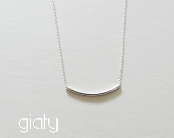 Curved bar charm necklace, small necklace, simple necklace, thin necklace, charm necklace, Mother's Day Gift