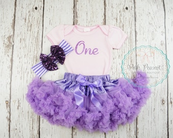 one first birthday outfit, 1st birthday girl outfit, baby girl outfit, lavender tutu, purple birthday outfit, sofia the first outfit, second