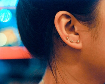 Three Studs Gold-Plated Sterling Silver Ear Climbers