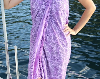 Women's Coverup, Purple Sarong, Beach Coverup, Resort Wear, Beach Cover up, Pool Coverup, Swim Coverup, Pareo, Stocking stuffer for women