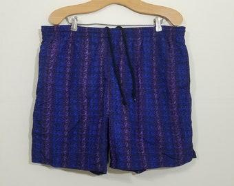 Vtg 90s Swim Trunks By M Sport | Vintage Retro Purple Neon Blue Aztec Bathing Suit Shorts Surf Beach | Mens Large | TUFF
