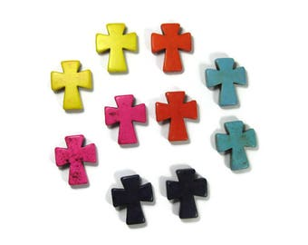 Extra Large 36mm Howlite Cross Beads Sold in Pairs