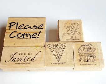 Set of 5 - Stampin' Up! Rubber Stamps - Retired Stampin Up - Rubber Stamps - Food Stamps - Invitation Stamps - Invite Stamps - Pizza Stamp