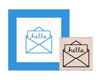 Envelope Hello Rubber Stamp
