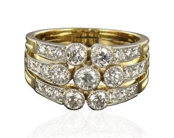 3 rings modern 18K Yellow Gold Diamond ring