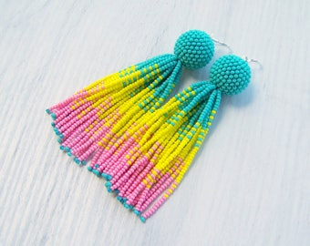 4 inches Turquoise, yellow and pink Beaded tassel earrings - Statement Earrings - Long beadwork dangle tassel earrings - Fringe earrings