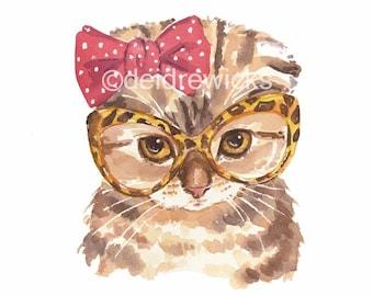 Kitten Watercolor Print - Cat Watercolour Painting, Scottish Fold Cat, Retro Glasses, Cute Kitten