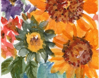 ACEO Sunflowers in bucket, original watercolor painting