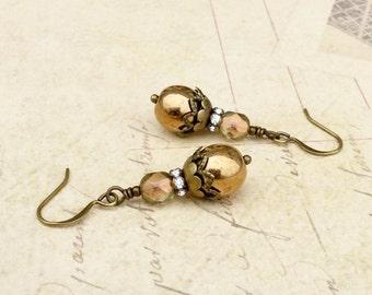 Bronze Earrings, Gold Earrings, Vintage Look Earrings, Czech Glass Beads, Bridal Earrings,Victorian Earrings, Unique Earrings,Gifts for Her