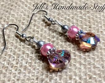 Pink Beaded Earrings - Surgical Steel Wire Earrings - Beaded Jewelry Gift- Drop Earrings